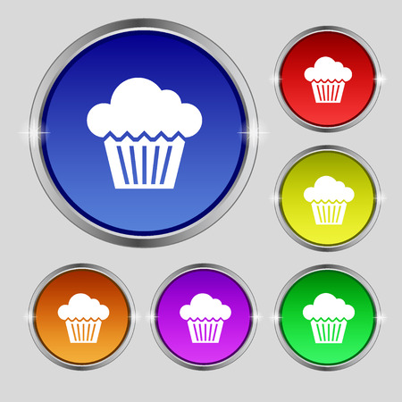 bright cake: cake icon sign. Round symbol on bright colourful buttons. Vector illustration