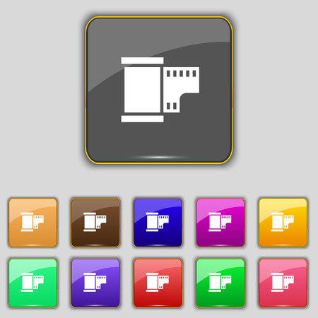 35 mm: 35 mm negative films icon sign. Set with eleven colored buttons for your site. Vector illustration