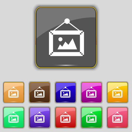 glyphs: picture  icon sign. Set with eleven colored buttons for your site. Vector illustration