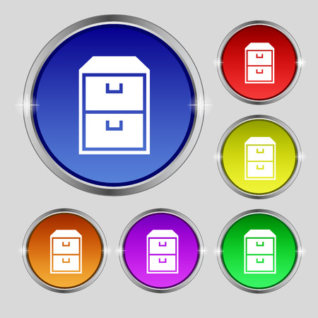 nightstand: nightstand icon sign. Round symbol on bright colourful buttons. Vector illustration