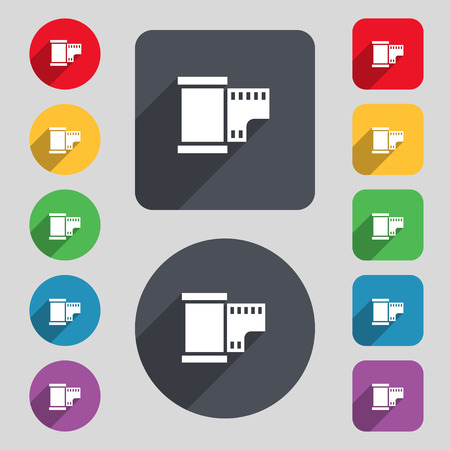 35 mm: 35 mm negative films icon sign. A set of 12 colored buttons and a long shadow. Flat design. Vector illustration