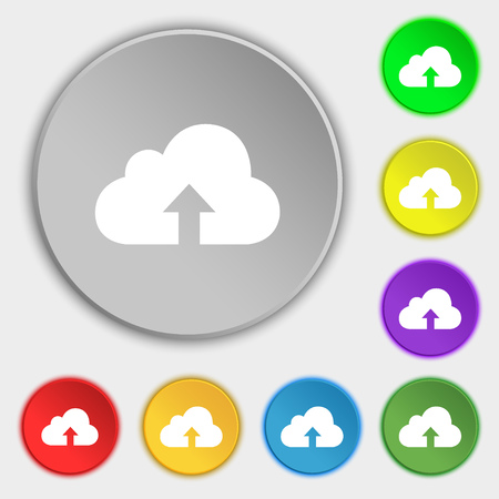 protected database: Backup icon sign. Symbol on eight flat buttons. Vector illustration