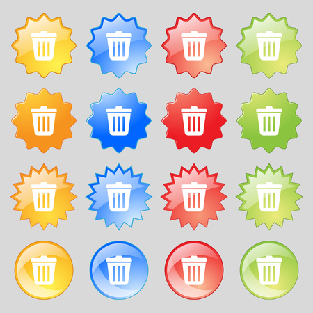 big bin: Bin icon sign. Big set of 16 colorful modern buttons for your design. Vector illustration