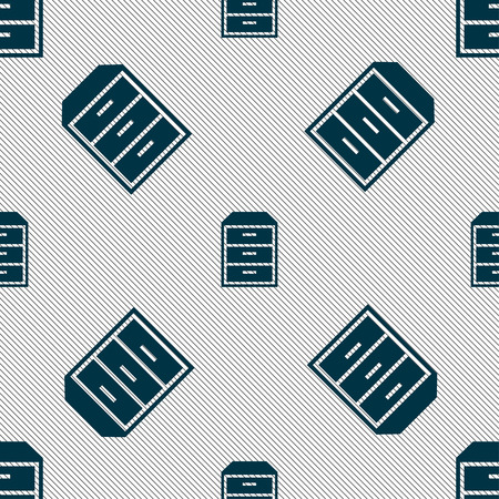 nightstand: nightstand icon sign. Seamless pattern with geometric texture. Vector illustration Illustration