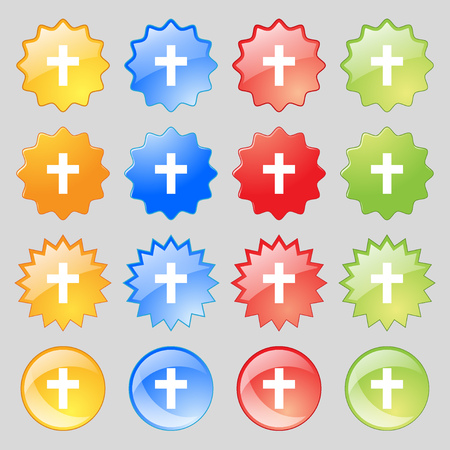 protection of the bible: religious cross, Christian icon sign. Big set of 16 colorful modern buttons for your design. Vector illustration Illustration