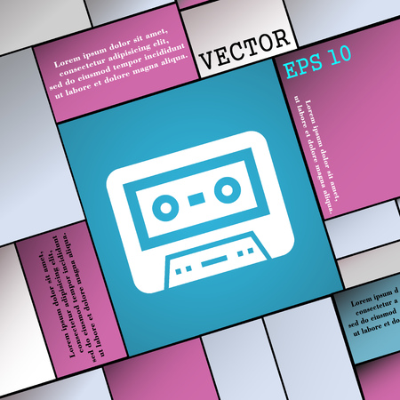 electronic 80s: audiocassette icon sign. Modern flat style for your design. Vector illustration