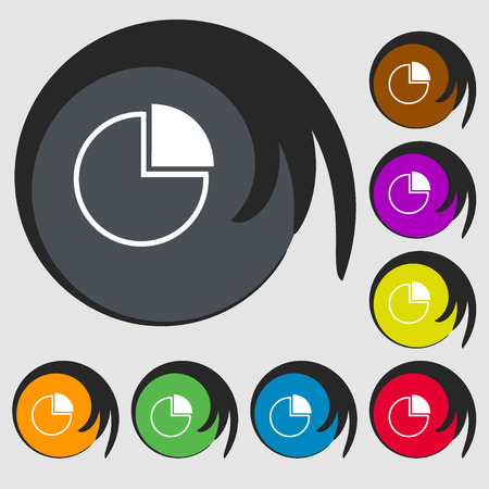 sales trend: Infographic icon. Symbols on eight colored buttons. Vector illustration
