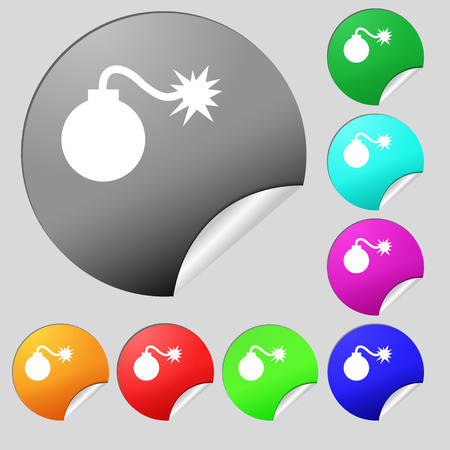aggression: bomb icon sign. Set of eight multi colored round buttons, stickers. Vector illustration