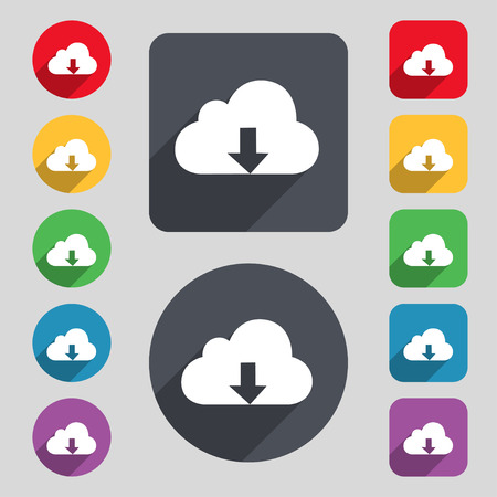 secure backup: Backup icon sign. A set of 12 colored buttons and a long shadow. Flat design. Vector illustration