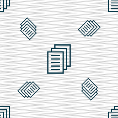 duplicate: Copy file, Duplicate document icon sign. Seamless pattern with geometric texture. Vector illustration