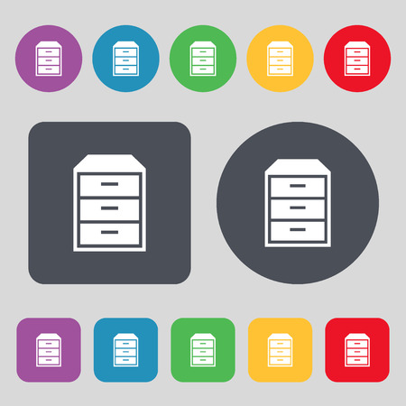 nightstand: nightstand icon sign. A set of 12 colored buttons. Flat design. Vector illustration