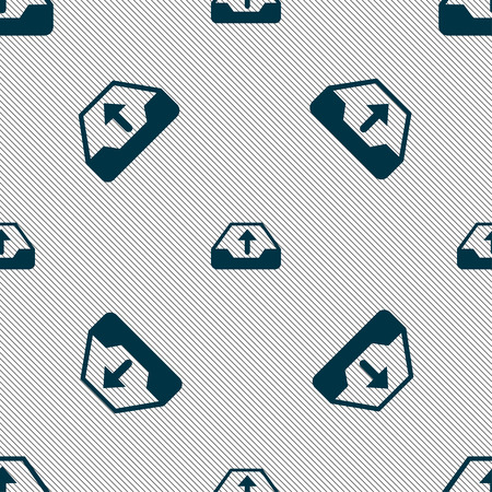 data archiving: Backup icon sign. Seamless pattern with geometric texture. Vector illustration Illustration