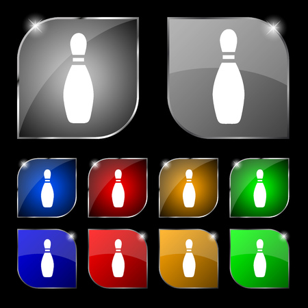 pin bowling icon sign. Set of ten colorful buttons with glare. Vector illustration