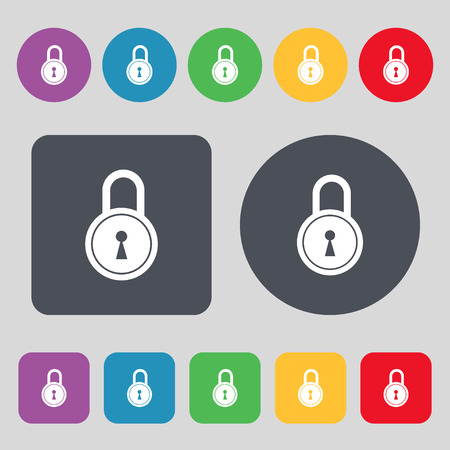 closed lock: closed lock icon sign. A set of 12 colored buttons. Flat design. Vector illustration
