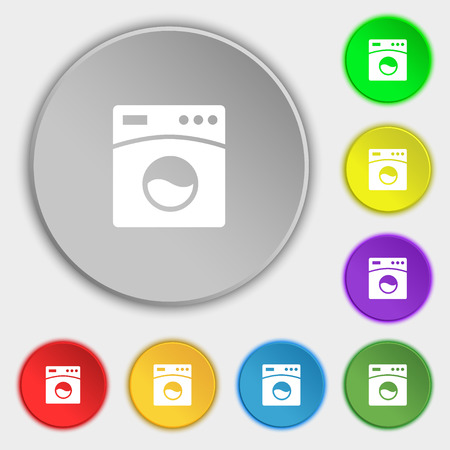 washhouse: Washing machine icon sign. Symbol on eight flat buttons. Vector illustration