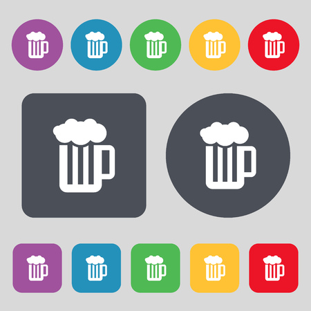 binge: Glass of beer with foam icon sign. A set of 12 colored buttons. Flat design. Vector illustration