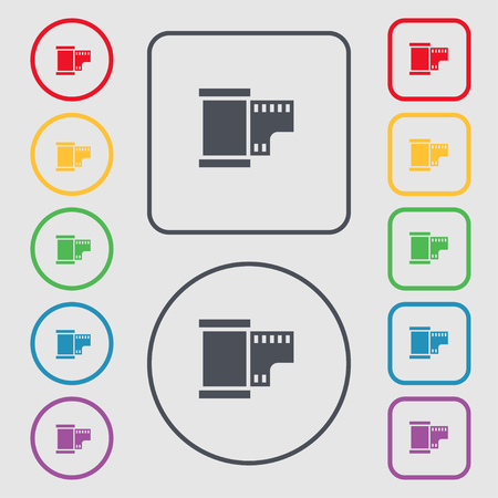 35 mm: 35 mm negative films icon sign. symbol on the Round and square buttons with frame. Vector illustration