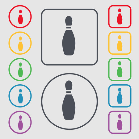 pin bowling icon sign. symbol on the Round and square buttons with frame. Vector illustration