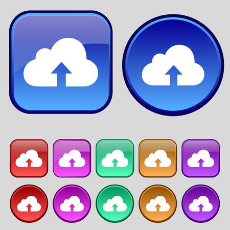 protected database: Backup icon sign. A set of twelve vintage buttons for your design. Vector illustration Illustration