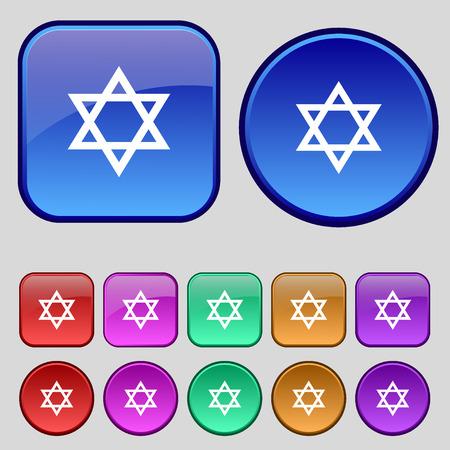 satanic: pentagram icon sign. A set of twelve vintage buttons for your design. Vector illustration