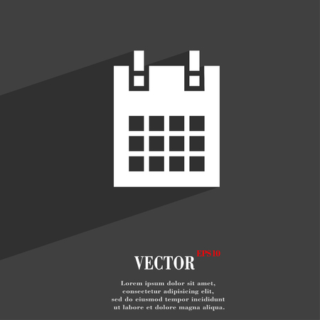 page long: calendar page symbol Flat modern web design with long shadow and space for your text. Vector illustration Illustration