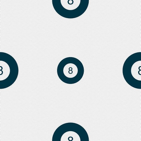 Eightball, Billiards  icon sign. Seamless pattern with geometric texture. Vector illustration Illustration