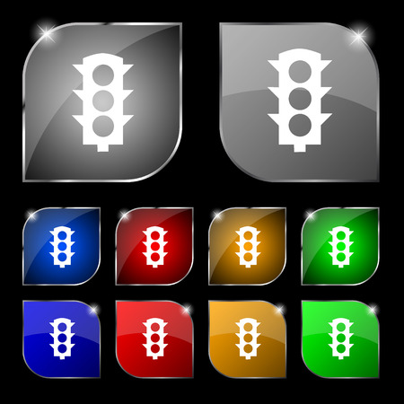 light signal: Traffic light signal icon sign. Set of ten colorful buttons with glare. Vector illustration