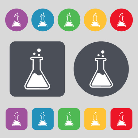 Flask icon sign. A set of 12 colored buttons. Flat design. Vector illustration