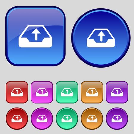 Backup icon sign. A set of twelve vintage buttons for your design. Vector illustration Illustration