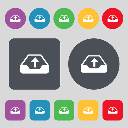archiving: Backup icon sign. A set of 12 colored buttons. Flat design. Vector illustration