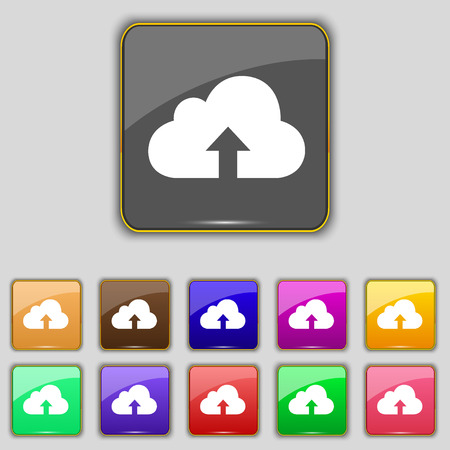 protected database: Backup icon sign. Set with eleven colored buttons for your site. Vector illustration Illustration