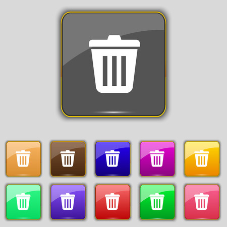 sewage: Bin  icon sign. Set with eleven colored buttons for your site. Vector illustration