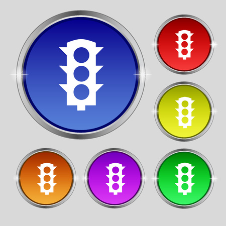 light signal: Traffic light signal icon sign. Round symbol on bright colourful buttons. Vector illustration Illustration