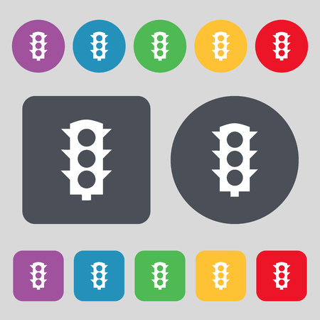 light signal: Traffic light signal icon sign. A set of 12 colored buttons. Flat design. Vector illustration