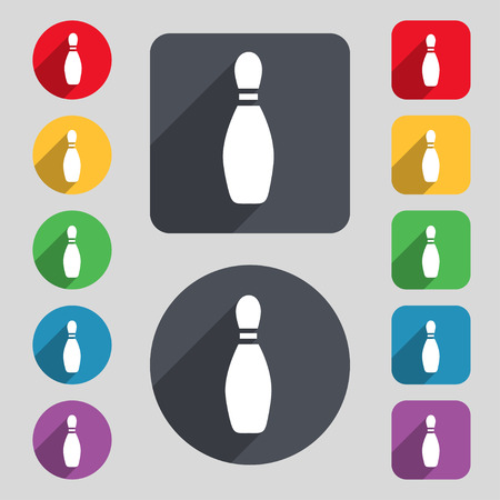 pin bowling icon sign. A set of 12 colored buttons and a long shadow. Flat design. Vector illustration