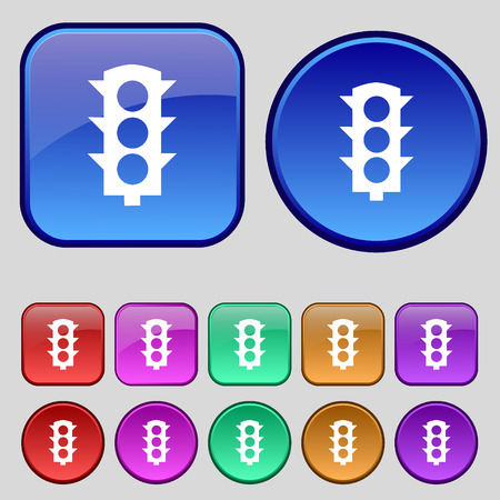 light signal: Traffic light signal icon sign. A set of twelve vintage buttons for your design. Vector illustration