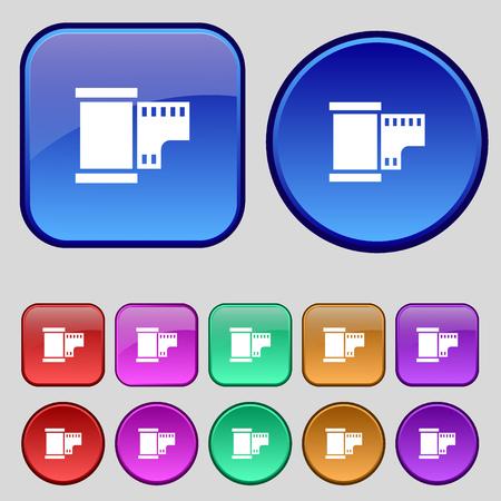 processed: 35 mm negative films icon sign. A set of twelve vintage buttons for your design. Vector illustration
