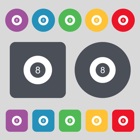 eightball: Eightball, Billiards  icon sign. A set of 12 colored buttons. Flat design. Vector illustration