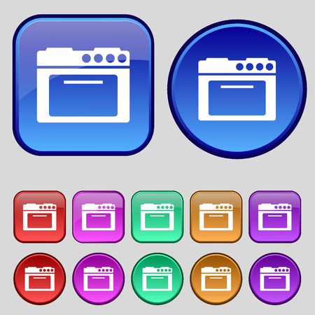 kitchen stove: kitchen stove icon sign. A set of twelve vintage buttons for your design. Vector illustration