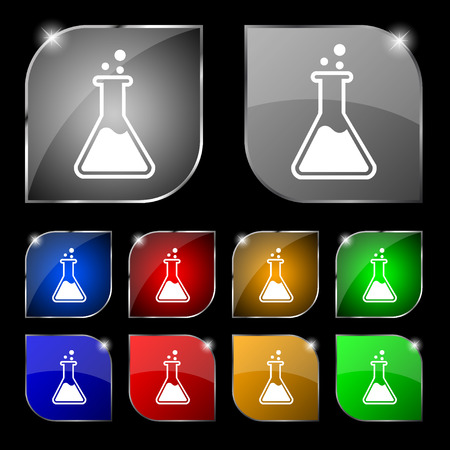 drug discovery: Flask  icon sign. Set of ten colorful buttons with glare. Vector illustration