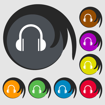 ear phones: headphones icon. Symbols on eight colored buttons. Vector illustration Illustration