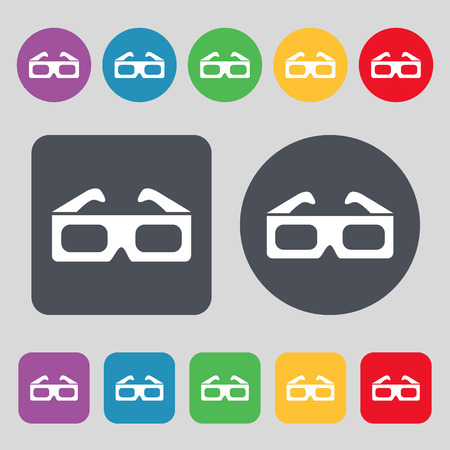 stereoscope: 3d glasses icon sign. A set of 12 colored buttons. Flat design. Vector illustration