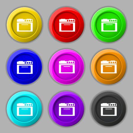 kitchen stove: kitchen stove icon sign. symbol on nine round colourful buttons. Vector illustration Illustration