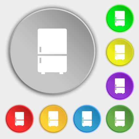 coolness: Refrigerator icon sign. Symbol on eight flat buttons. Vector illustration