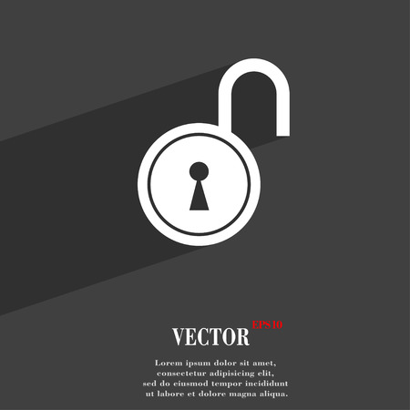 secret codes: open lock symbol Flat modern web design with long shadow and space for your text. Vector illustration Illustration