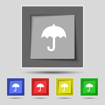 resistant: umbrella icon sign on original five colored buttons. Vector illustration