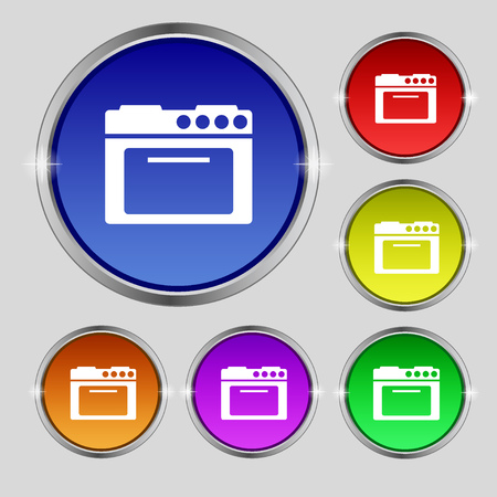 kitchen stove: kitchen stove icon sign. Round symbol on bright colourful buttons. Vector illustration