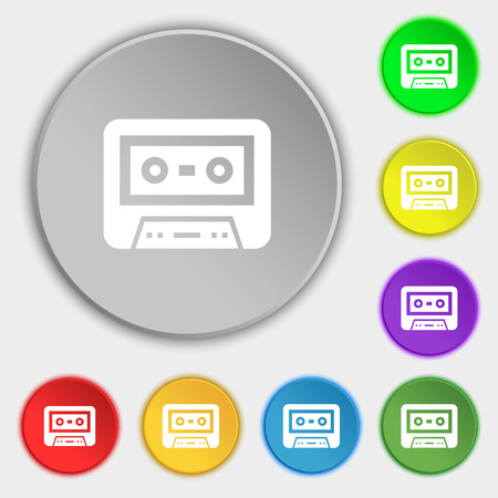 electronic 80s: audiocassette icon sign. Symbol on eight flat buttons. Vector illustration