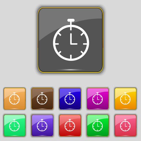 eleven: Stopwatch  icon sign. Set with eleven colored buttons for your site. Vector illustration