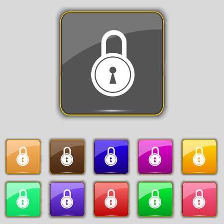 eleven: closed lock icon sign. Set with eleven colored buttons for your site. Vector illustration Illustration
